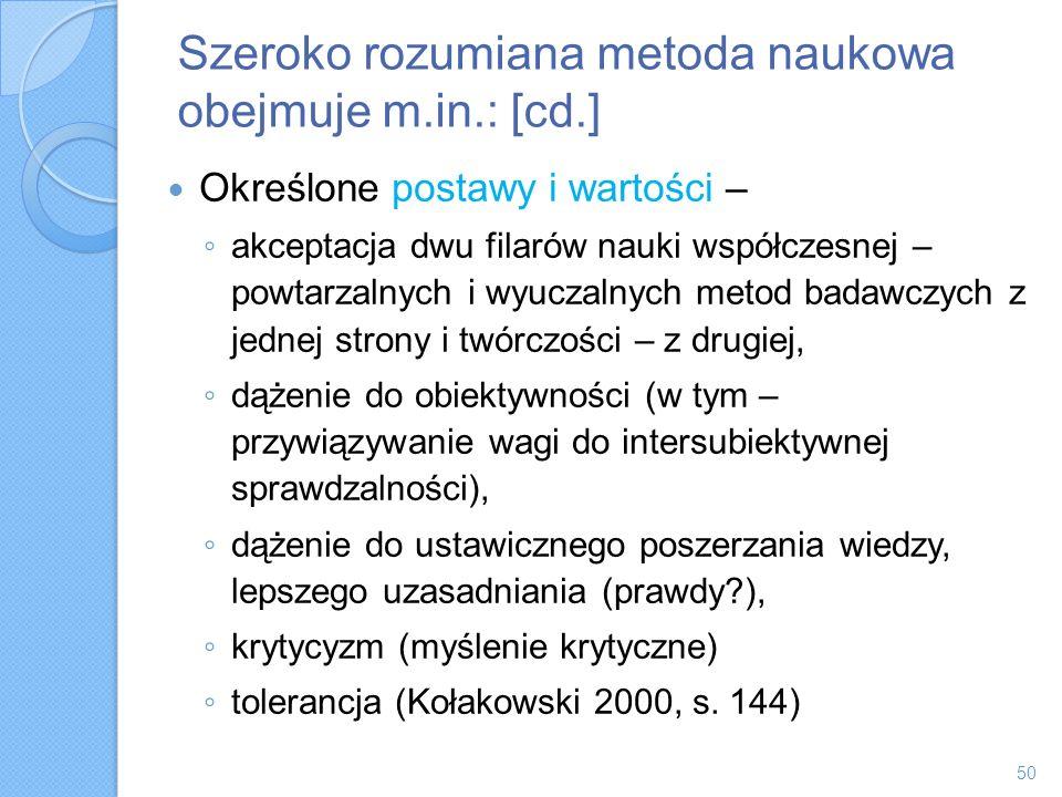 Szeroko rozumiana metoda naukowa obejmuje m.in.: [cd.]